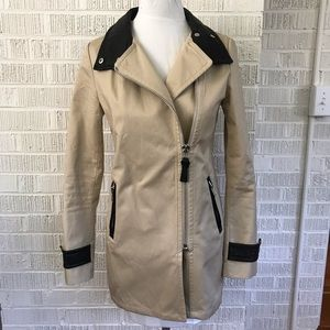 Mackage Montreal zip trench coat leather detail XS
